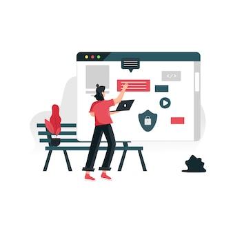Strona internetowa projektuje płaski koncept