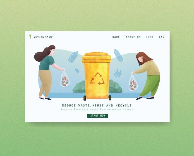Strona internetowa szablon projektu na światowy dzień ochrony środowiska. zapisz ziemi planeta świat koncepcja akwarela wektor