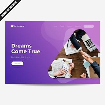 Strona internetowa szablonu strony docelowej tło kolorowy