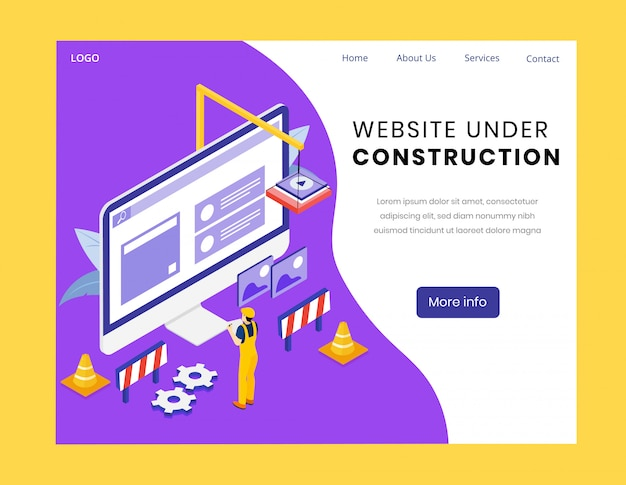 Strona internetowa w budowie izometryczna strona docelowa