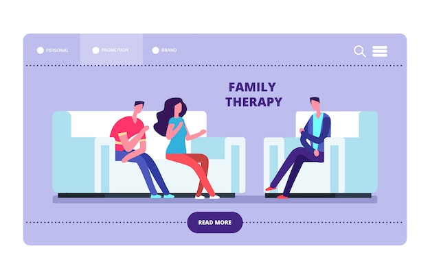 Strona internetowa wektor terapii rodzinnej. żona i mąż u psychoterapeuty