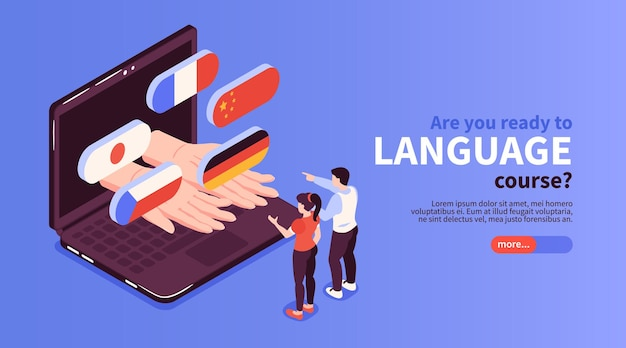 Strona internetowa z kursami językowymi online z flagami krajów wyskakującymi z izometrycznego banera na ekranie laptopa