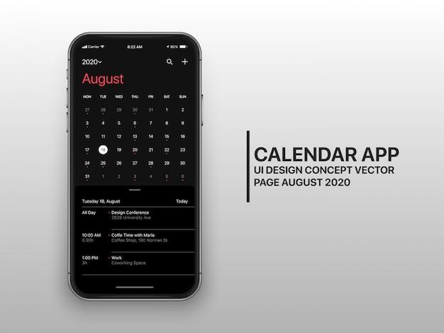 Strona kalendarza ui ux concept sierpnia