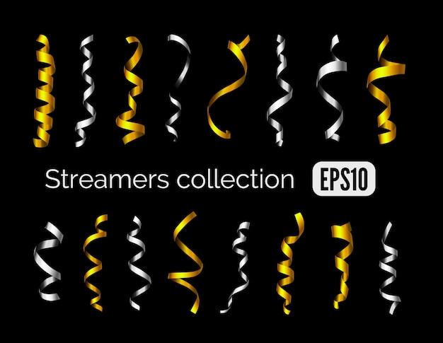 Strona kolekcja błyszczących złotych serpentyn dekoracji i srebrnych wstążek curling party na białym na czarnym tle