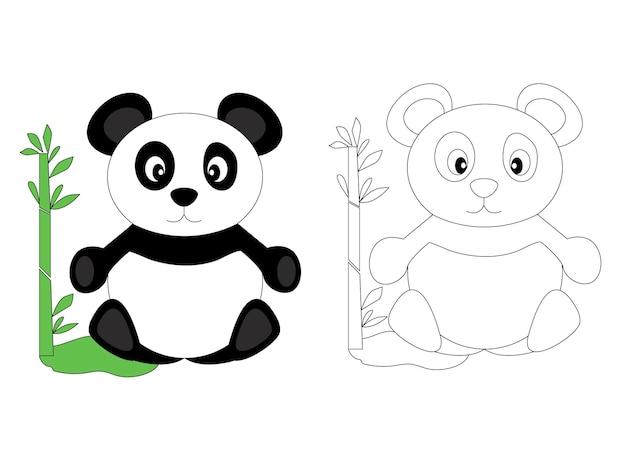 Strona kolorowanka dla dzieci śliczna panda