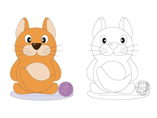 Strona kolorowanka dla dzieci słodki czerwony kotek
