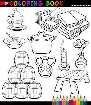 Strona kolorowanki kreskówka różne przedmioty