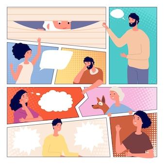 Strona komiksu. komunikacja ludzi, projekt plakatu komiksowego. mężczyzna kobieta i dymki, osoba zerkanie i pozdrowienia wektor ilustracja. strona komiksu mowy z ludźmi na czacie