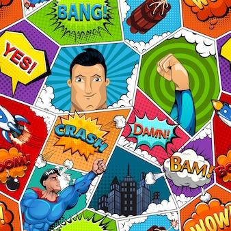 Strona komiksu podzielona wzorem linii
