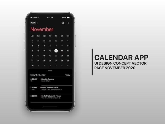 Strona koncepcyjna interfejsu użytkownika aplikacji kalendarza ux w listopadzie tryb ciemny