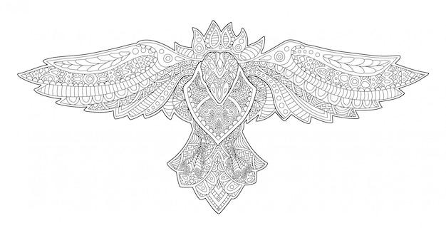 Strona książki kolorowanki dla dorosłych z ozdobny wrona