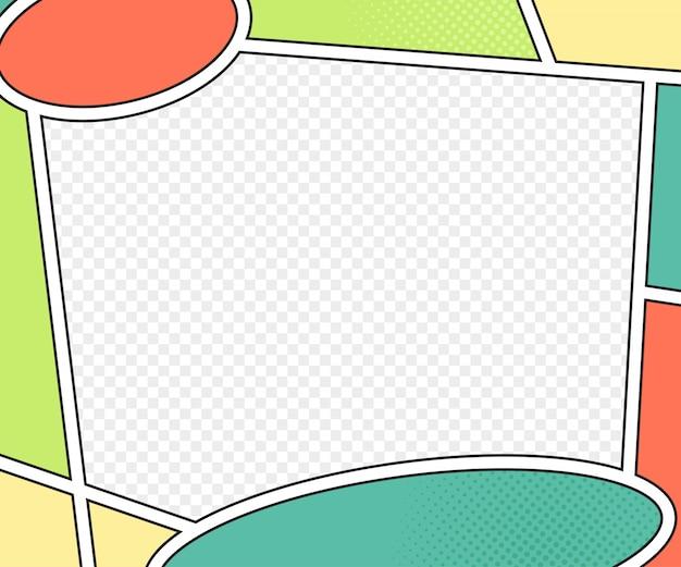 Strona książki z komiksami. wektor makiety w stylu pop-art. kolorowa ilustracja