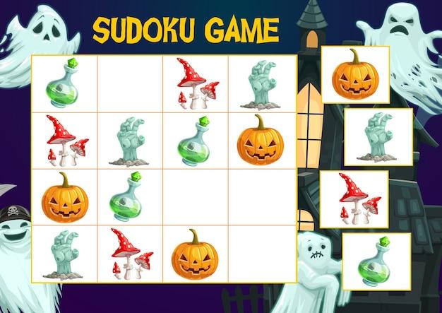 Strona książki z łamigłówkami dla dzieci, gra sudoku na halloween