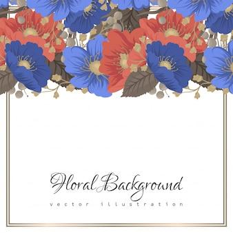 Strona kwiatów granice niebieskie i czerwone kwiaty