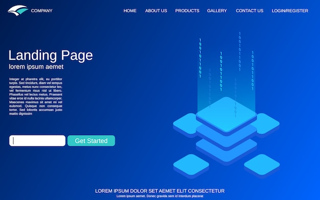 Strona landin. ilustracja koncepcja izometryczne technologii cyfrowej