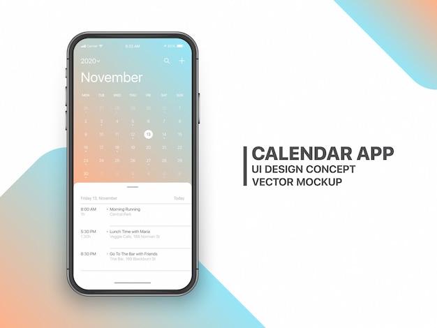 Strona listopadowa koncepcja aplikacji kalendarza