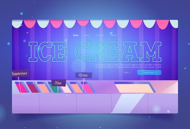 Strona lodziarni z deserami lodowymi w lodówce