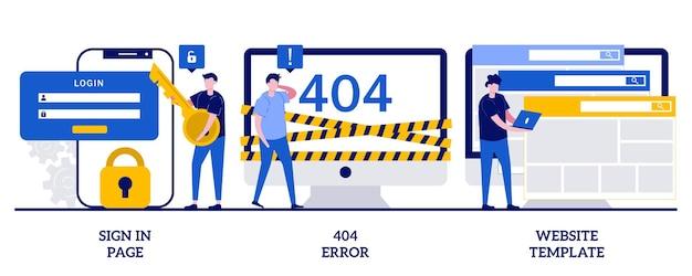 Strona logowania, błąd 404, koncepcja szablonu strony internetowej z małymi ludźmi. zestaw interfejsu strony internetowej. formularz logowania użytkownika, interfejs użytkownika, rejestracja nowego konta, strona docelowa, metafora projektowania stron internetowych.