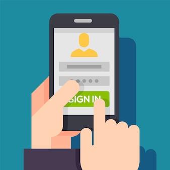 Strona logowania na ekranie telefonu.