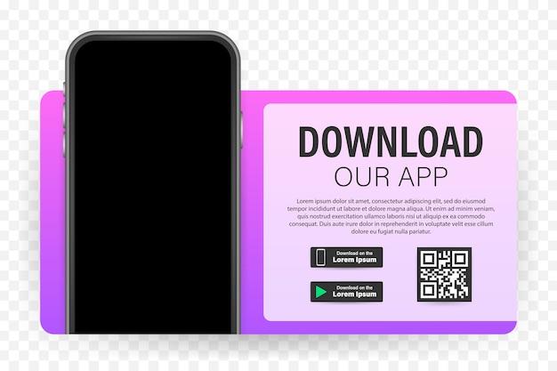 Strona pobierania aplikacji mobilnej. pusty ekran smartfona dla twojej aplikacji. pobierz aplikację.