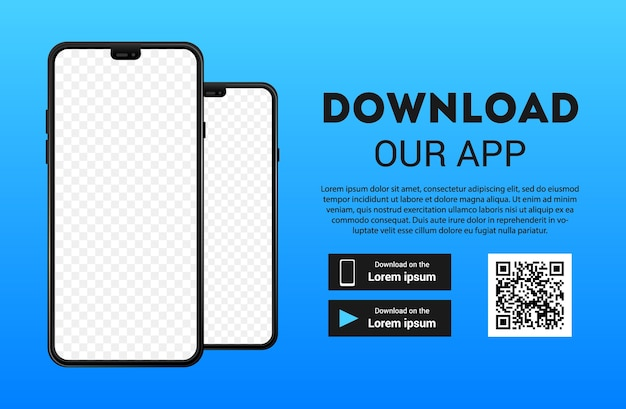 Strona pobierania aplikacji mobilnej. pusty ekran smartfona. pobierz przyciski.