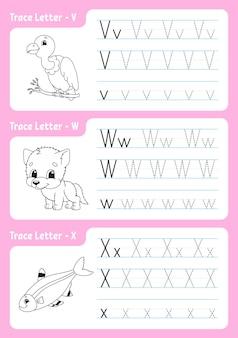 Strona śledzenia alfabetu. arkusz dla dzieci.