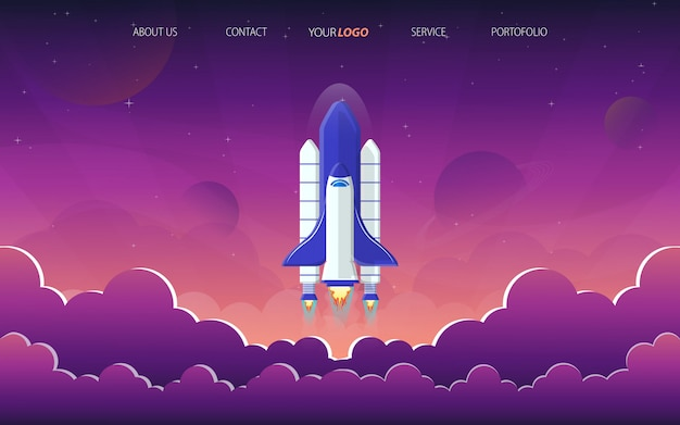 Strona startowa rakiety w fioletowej przestrzeni