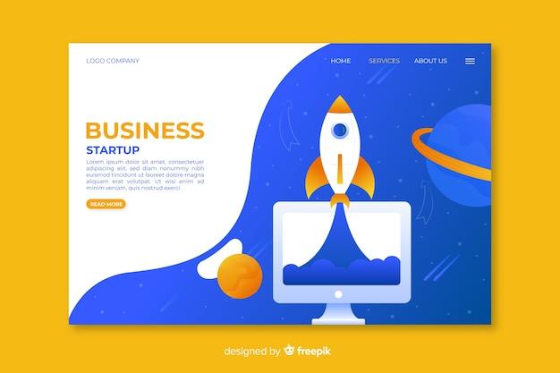 Strona startowa startowego biznesu ze statkiem kosmicznym i planetami