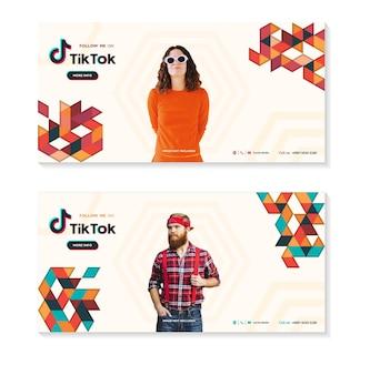 Strona tiktok promocja tik tok z minimalistyczną grafiką geometryczną plakat prosty kształt i figura