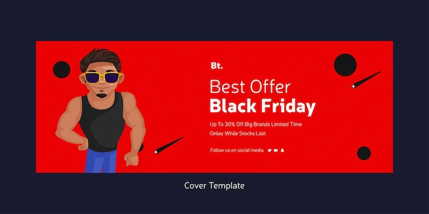 Strona tytułowa najlepszej oferty na szablonie stylu cartoon w czarny piątek
