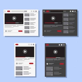 Strona usługi hostingowej przesyłania strumieniowego wideo płasko. strona internetowa, interfejs użytkownika, układ interfejsu, na komputerze i urządzeniu mobilnym, technologia rozrywki online. szablon