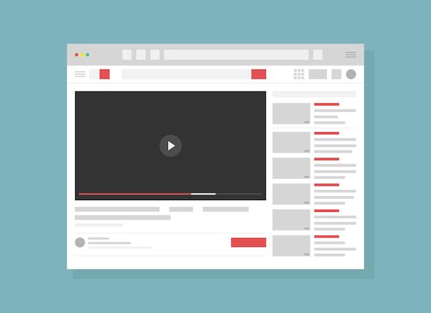 Strona usługi hostingu wideo płaska strona internetowa strona internetowa strona internetowa technologia online