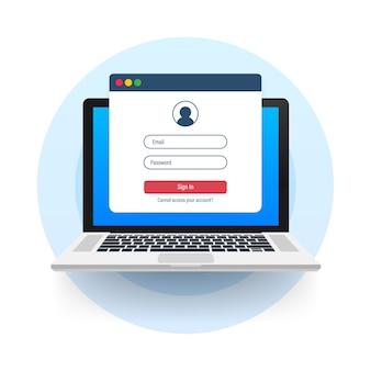 Strona uwierzytelniania na laptopie