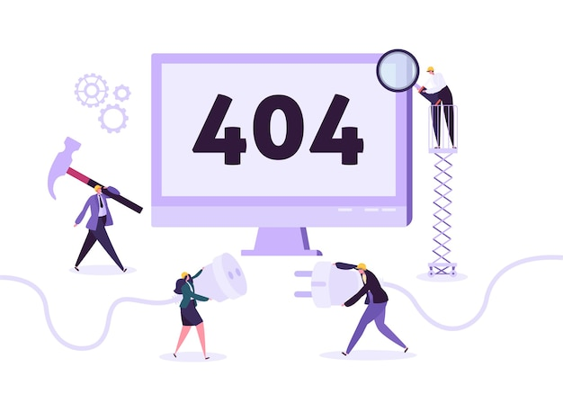Strona w budowie. konserwacja strony z pracownikami znakowymi w mundurze naprawianie problemu sieciowego. nie znaleziono strony internetowej.