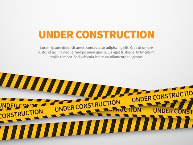 Strona w budowie. ostrożnie żółtej taśmy konstrukci ostrzeżenia linii tła znaka strony internetowej ochrony ostrożność ostrzeżenie