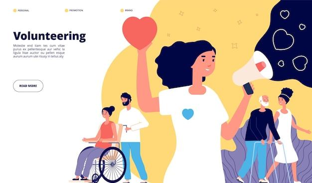 Strona wolontariatu. społeczność charytatywna, organizacja grup wolontariuszy. wspólna aktywność ludzi, pomoc społeczna. koncepcja pomocy non-profit. wolontariuszka charytatywna, ilustracja organizacji wolontariatu