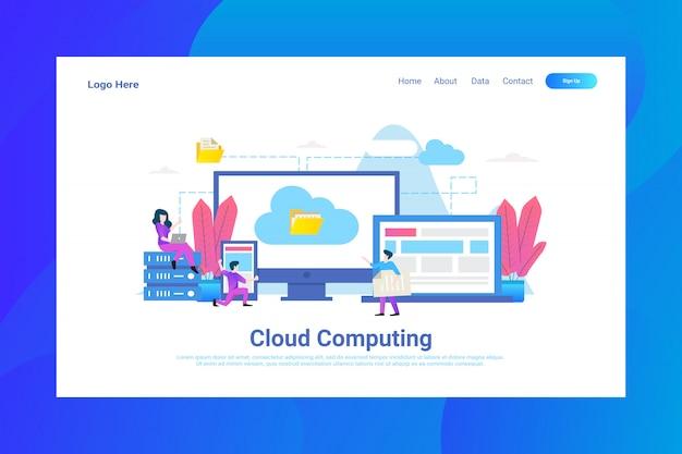 Strona www nagłówek cloud computing ilustracja strona docelowa