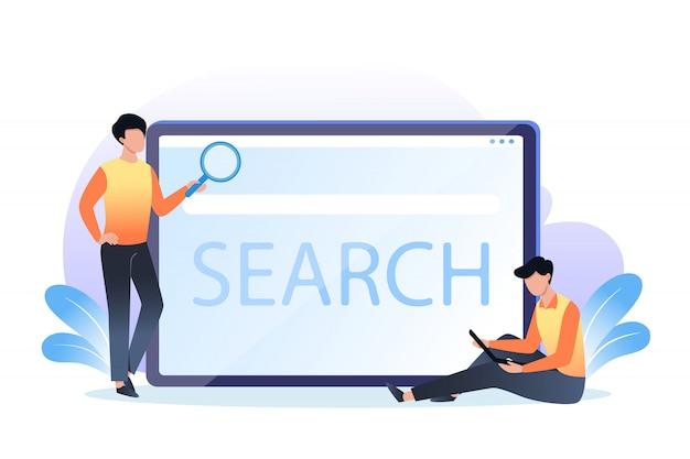 Strona wyszukiwania w sieci web, płaska ilustracja na baner, prezentacja, reklama, młodzież i duży ekran komputera