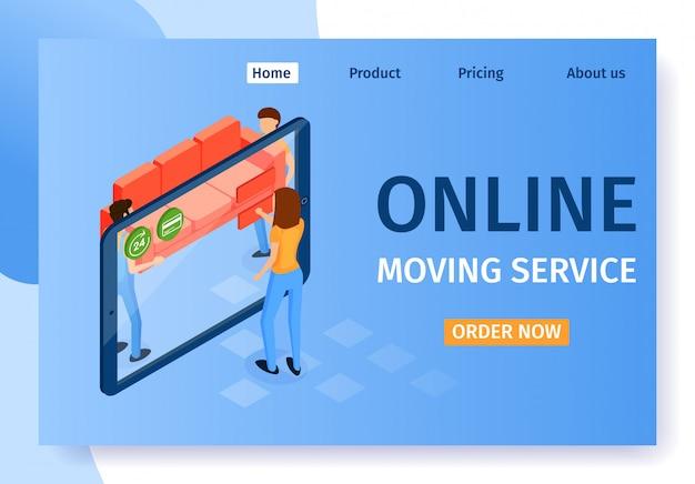 Strona z napisem online moving service landing page.