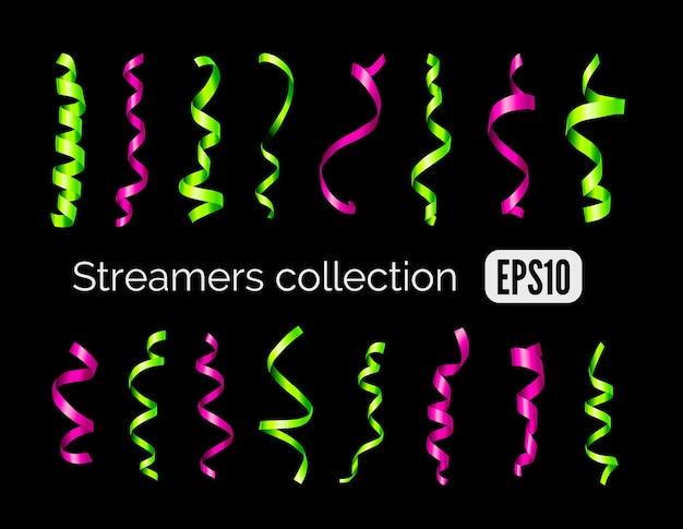 Strona zbiórki zielone błyszczące serpentyny dekoracji i różowe wstążki curling party na białym na czarnym tle