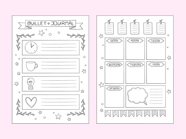 Strony dziennika punktorów. wektor szablony projektów ręcznie rysowanych notatek i przegródek organizatora ramek lub planisty