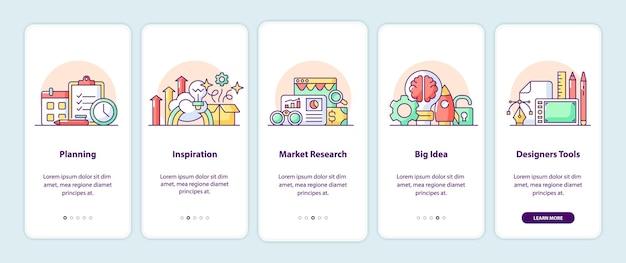 Strony ekranu aplikacji myślące twórczo. opis aplikacji na smartfony z ilustracjami z kreskówek. szablon mobilnego interfejsu użytkownika z 5 krokami. projekt interfejsu użytkownika z prostymi, fioletowymi koncepcjami kolorów