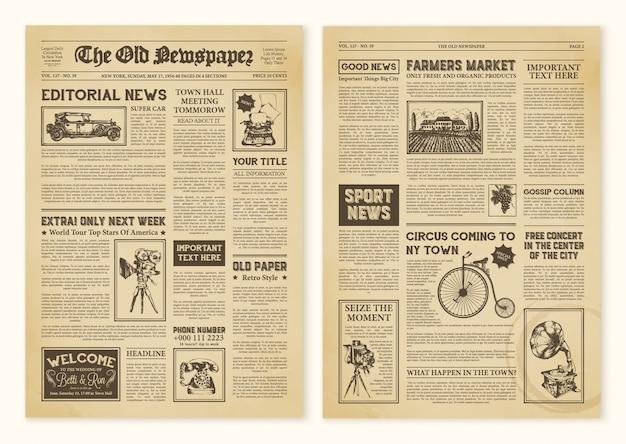 Strony gazet w stylu vintage