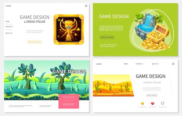 Strony internetowe projektowania gier z kreskówek zestaw z trofeum skrzynia skarbów złotych monet wodospad fantasy tropikalne i pustynne krajobrazy