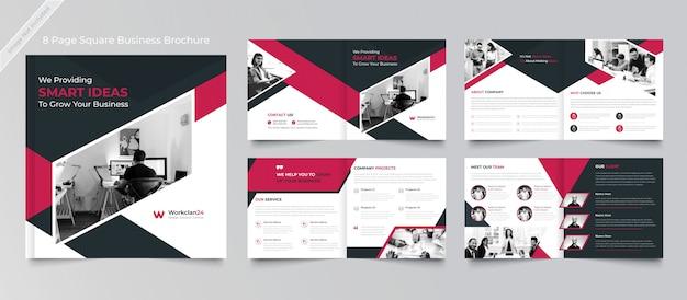 Strony korporacyjne kwadratowy projekt broszury szablon premium