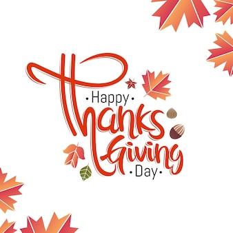 Strony napis szczęśliwy dzień dziękczynienia