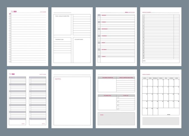 Strony organizatora. cotygodniowe cele projektu szablonu planu biura w dzienniku biznesowym. ilustracja planu strony biura, organizatora i harmonogramu tygodnia lub dnia