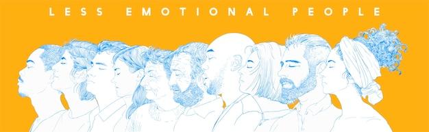 Strony rysunku ilustracji ludzkich twarzy