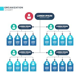 Struktura biznesowa organizacji, schemat struktury organizacyjnej z ikonami pracowników