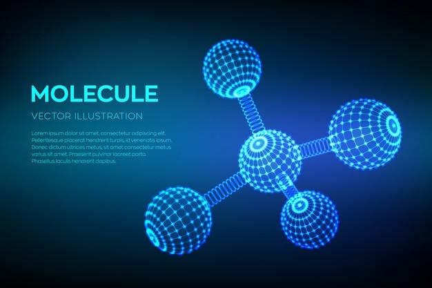 Struktura cząsteczki. dna, atom, neurony. cząsteczki i wzory chemiczne.